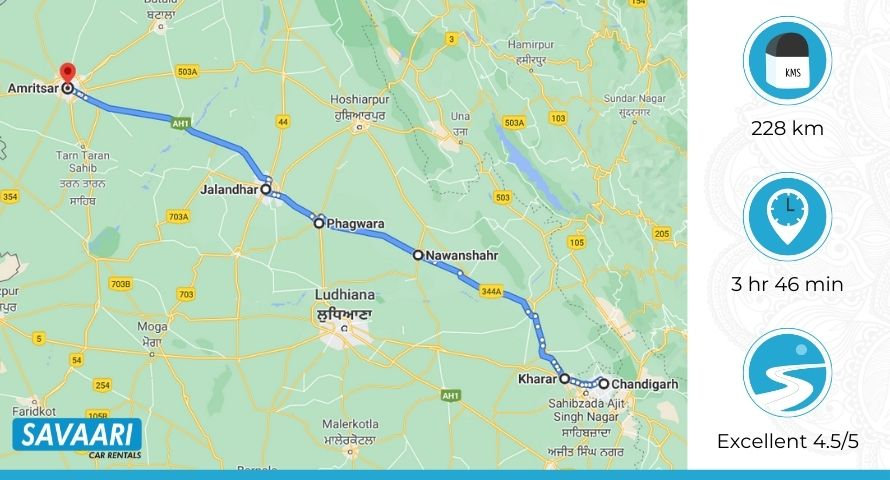 Chandigarh to Amritsar best route